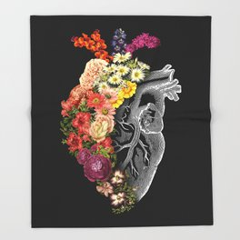 Flower Heart Spring Throw Blanket