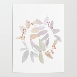 Rustic Initial O - Watercolor Letter Branches and Leaves Poster