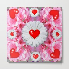 Red Hearts & White Floral Art Metal Print
