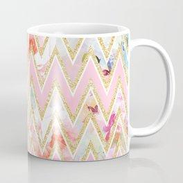 Pastel watercolor floral pink gold chevron pattern Coffee Mug