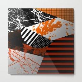 Metallic Pieces - Rustic, Abstract, metallic, textured black, white and gold artwork Metal Print