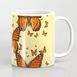 ORANGE MONARCH BUTTERFLIES CREAM  MODERN ART MONTAGE FOR the Coffee Mug