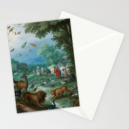 "Jan Brueghel the Elder ""Landscape of Paradise and the Loading of the Animals in Noah Stationery Cards"