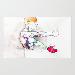 Luck, nude male muscle figure, NYC artist Rug
