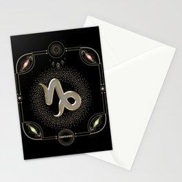 Golden capricornus zodiac sign Stationery Cards