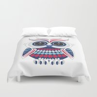 patriotic Duvet Covers featuring Patriotic Owl by Adamzworld