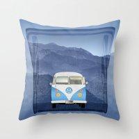 volkswagen Throw Pillows featuring Volkswagen Bus by Aquamarine Studio