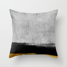 Black and Gold grunge stripes on modern grey beton abstract backround I- Stripe- Striped Throw Pillow