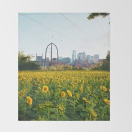 Minneapolis Minnesota Skyline and Sunflowers-Mpls Throw Blanket