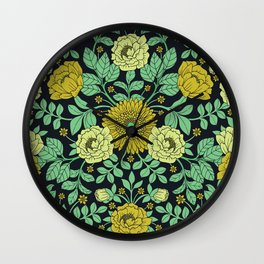 Seafoam Green, Chartreuse, Mustard Yellow & Navy Blue Floral Pattern Wall Clock