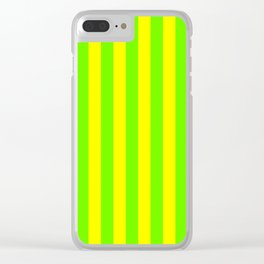 Super Bright Neon Yellow and Green Vertical Beach Hut Stripes Clear iPhone Case