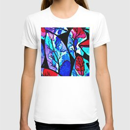 Blue and red leaves. The poetry of color. T-shirt