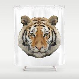 Geometrical Tiger Head Silhouette Shower Curtain