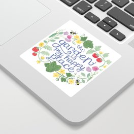 The Garden is My Happy Place Art Sticker
