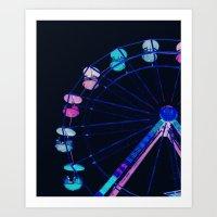 ferris wheel Art Prints featuring Ferris Wheel Pink Blue Aqua by WhimsyRomance&Fun