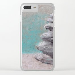 Stack of balanced stones on the beach drawing by pastel Clear iPhone Case