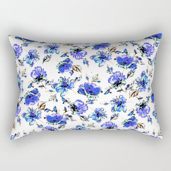 Watercolor Floral Pattern Rectangular Pillow