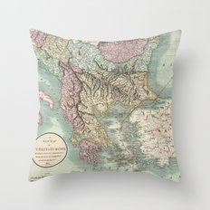 Vintage Map of The Balkans and Turkey (1801) Throw Pillow