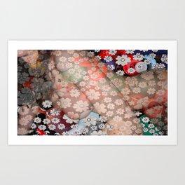 Flower Swirl Girl  Art Print