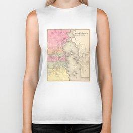 Vintage Map of New Bedford MA (1871) Biker Tank
