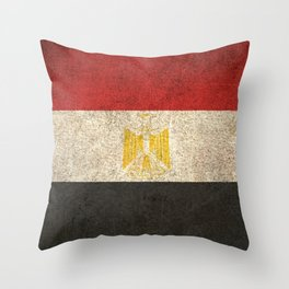Old and Worn Distressed Vintage Flag of Egypt Throw Pillow