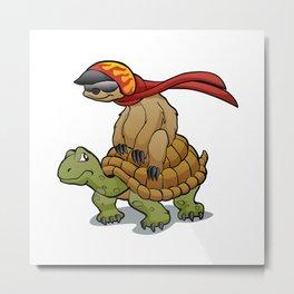 sloth riding a turtle Metal Print