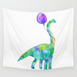 brachiosaurus with balloon Wall Tapestry