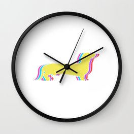 "CUTE Dog  Rainbow Flag Gay Pride T-shirt Design ""Dog"" Rainbow Flag Animals Animal Pet Paws  Wall Clock"