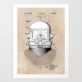 patent art Browne 1945 Diving suit Art Print