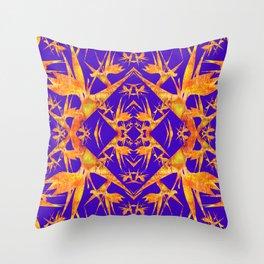 Bird of Paradise Fractal Floral Mandala Throw Pillow