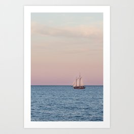 Red Witch Tall Ship in Kenosha, WI at Golden Hour Art Print