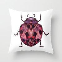 ladybug Throw Pillows featuring Ladybug by SilviaGancheva