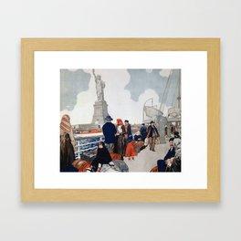 Vintage Immigrants & Statue of Liberty Illustration (1917) Framed Art Print