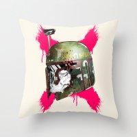 boba fett Throw Pillows featuring Boba Fett by efan