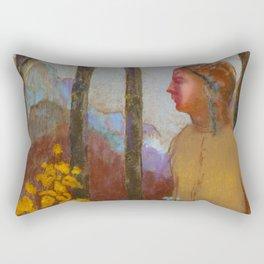 """Odilon Redon """"Évocation (Femme à la montagne)"""" Rectangular Pillow"""