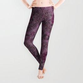 Vintage Merlot Lace Mandala Leggings