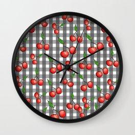 Gingham: Cherry Wall Clock