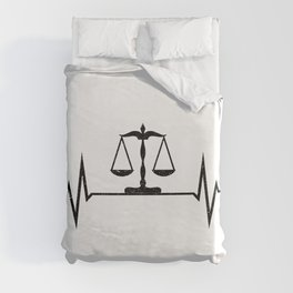 Scales Of Justice Heartbeat Lawyer Judge Duvet Cover