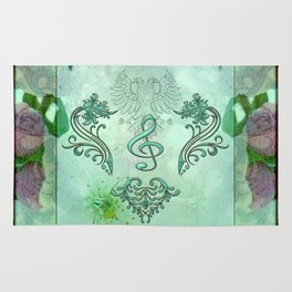 Music, decorative clef with floral elements Rug