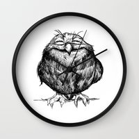 dave grohl Wall Clocks featuring Owl Ball by Dave Mottram