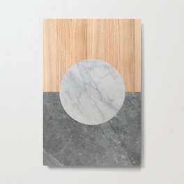 Abstract - Marble and Wood Metal Print