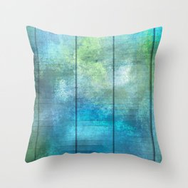 Panels - Turquoise Coral Green Throw Pillow