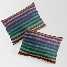 Knitted rainbow Pillow Sham