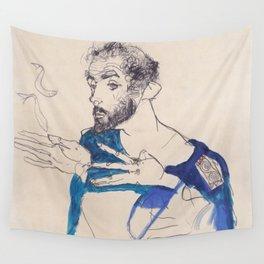 """Egon Schiele """"Gustav Klimt im blauen Malerkittel"""" Wall Tapestry"""