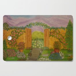Beyond The Gate Acrylic Painting by Rosie Foshee Cutting Board