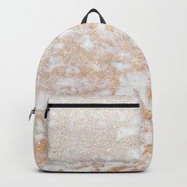 Elegant white faux glitter stylish marble pattern Backpack