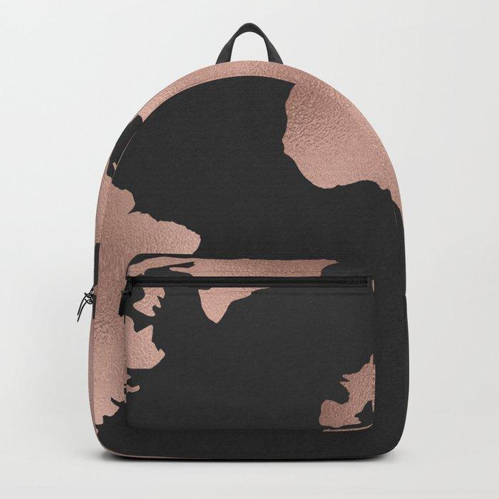 Rose Gold World Map on Dark Gray Backpack
