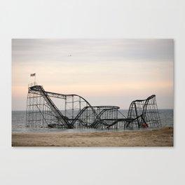 Jet Star Roller Coaster in Ocean After Hurricane Sandy Canvas Print