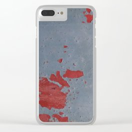 Beautiful Decay - Red on Blue rust spots Clear iPhone Case