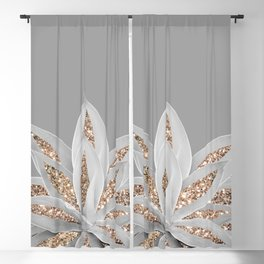 Gray Agave with Gold Glitter #1 #shiny #tropical #decor #art #society6 Blackout Curtain